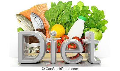 Grocery paper bag closeup with healthy products and Diet 3D word, isolated on white