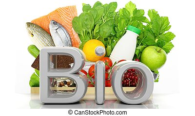 Grocery paper bag closeup with healthy products and Bio 3D word, isolated on white