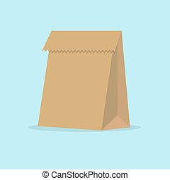 Grocery paper bag vector illustration isolated on background.