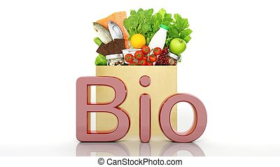 Grocery paper bag with healthy products and Bio 3D word, isolated on white
