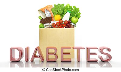 Grocery paper bag with healthy products and Diabetes 3D word, isolated on white