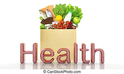Grocery paper bag with healthy products and Health 3D word, isolated on white