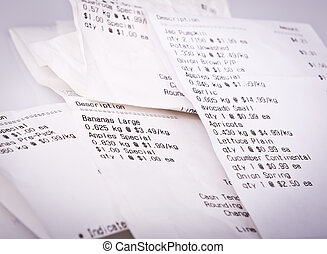 Grocery Receipts - Pile of generic grocery receipts with...
