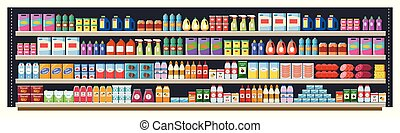 Grocery shelf in a supermarket or retail store with products, food and drinks, bottles and boxes.