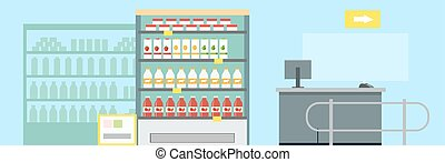 Grocery Shop Interior Concept Vector Illustration. - Grocery...