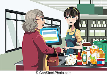 A vector illustration of a lady shopping at a grocery store