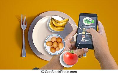 Grocery shopping app food ingredients