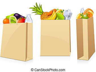 Isolated shopping bags in different positions full of groceries