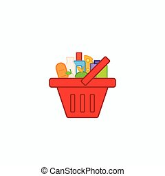 Grocery shopping basket full of healthy organic fresh and natural food. Flat thin line design.