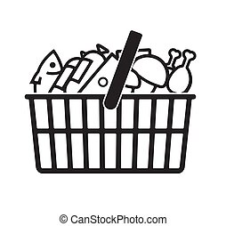 Grocery shopping basket with food. There are fish, mushrooms, cheese, chicken, sausage. Stylized vector icon for your design, logo, decor.