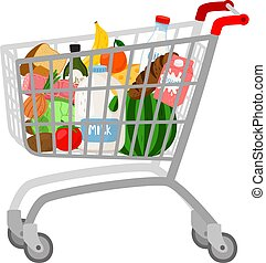 Grocery shopping cart on white. Full supermarket food basket...