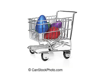 Grocery Shopping Cart on White