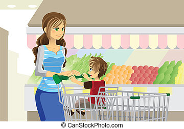 Grocery shopping - A vector illustration of a mother and her...