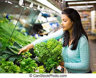 Grocery shopping - Closeup portrait, beautiful, pretty young...