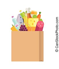Grocery Shopping Concept Banner Illustration.