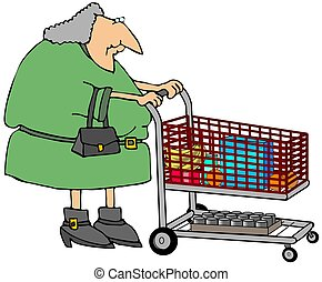Grocery Shopping - This illustration depicts an old woman ...