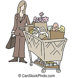 Grocery Shopping Woman - An image of a grocery shopping...