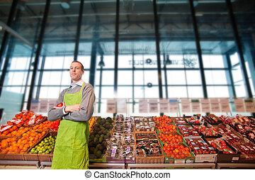 grocery slaan op, eigenaar, verticaal