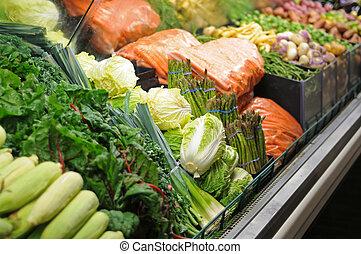 grocery slaan op, groentes