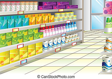A vector illustration of grocery store aisle