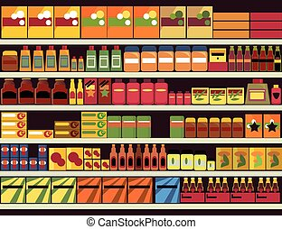 Grocery store background - Grocery store shelves filled with...