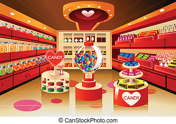 Grocery store: candy section - A vector illustration of...