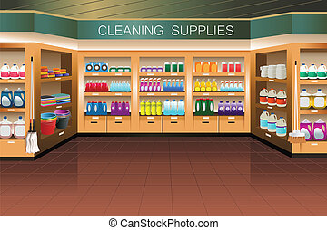 A vector illustration of cleaning supply section in grocery store