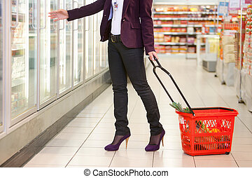 Grocery Store Cooler - Low section of woman in front of ...