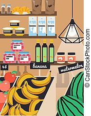 Grocery store, farmers market vector poster template