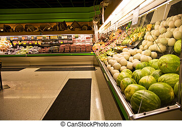Grocery store or supermarket - A shot of a produce section ...
