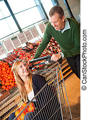 Grocery Store Playful Couple
