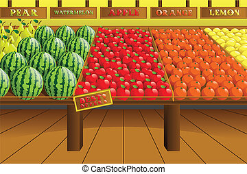 Grocery store produce aisle - A vector illustration of...