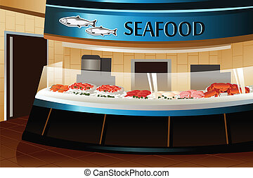 A vector illustration of seafood section in grocery store