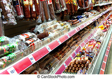 Grocery store shelf - Food in a grocery store