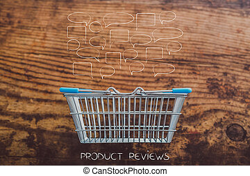 grocery store shopping basket on wooden surface with customer comments