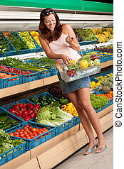 Grocery store shopping - Woman in summer outfit - Grocery...