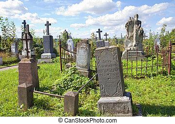 GRODNO, BELARUS - SEPTEMBER 02, 2012: Old graves at cemetery in Grondo, Belarus.