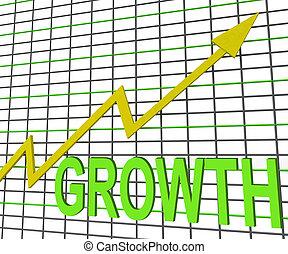 groei, grafiek, tabel, optredens, verhogen, omzet, winst
