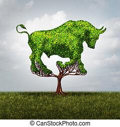 groei, markt, stier