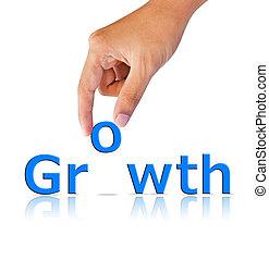 groei, woord, hand