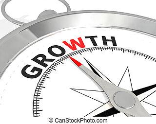 groei, woord, metalen, kompas