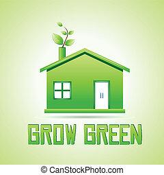groeien, groene