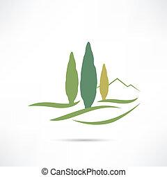 groeiende, akker, bomen, pictogram
