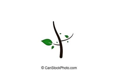 groeiende, animatie, boompje