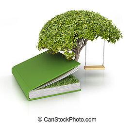 groeiende, boek, boompje, kennis, uit
