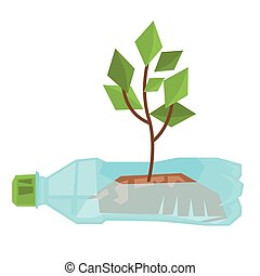 groeiende, bottle., gebruikt, stengel, plastic
