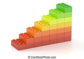 groeiende, grafiek, van, kleur, gebouw, speelgoed belemmert, 3d, vertolking