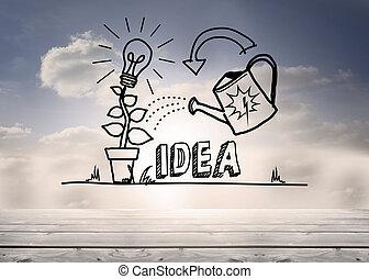 groeiende, grafisch, hemel, idee