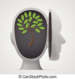groeiende, hoofd, boompje, binnen, silhouette.