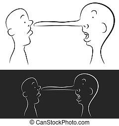 groeiende, leugenaar, neus
